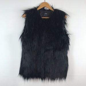 A New Approach Faux Fur Black Vest Size Large